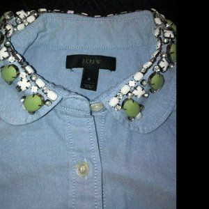 J. Crew Blue Button Down Embellished Collar Size 8
